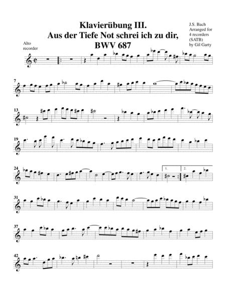Aus der tiefe Not schrei ich zu dir, BWV 687