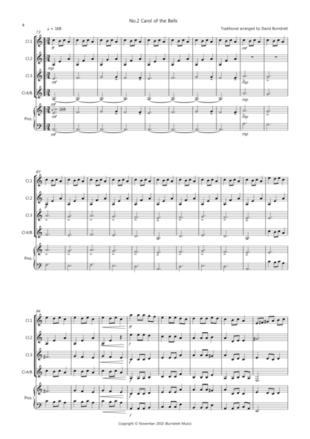 3 Easy Christmas Pieces for Clarinet Quartet (volume one)