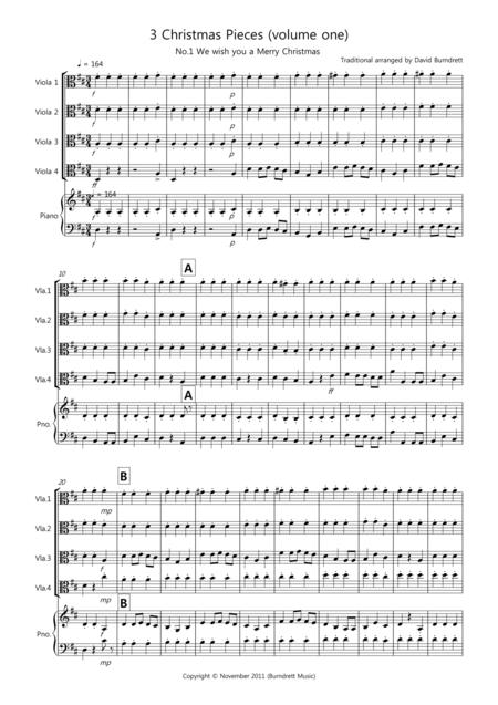 3 Easy Christmas Pieces for Viola Quartet (volume one)