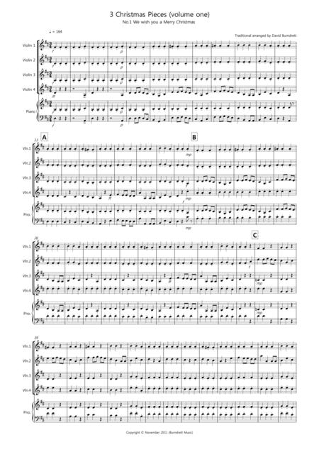 3 Easy Christmas Pieces for Violin Quartet (volume one)