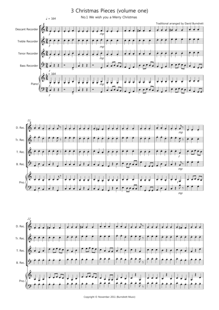 3 Easy Christmas Pieces for Recorder Quartet