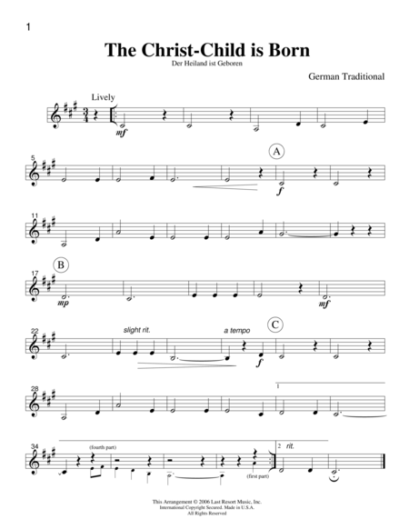Intermediate Music for Four, Christmas, Part 3 - Bb Clarinet or Bb Trumpet