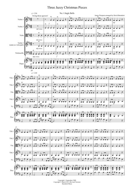 3 Jazzy Christmas Pieces for String Quartet