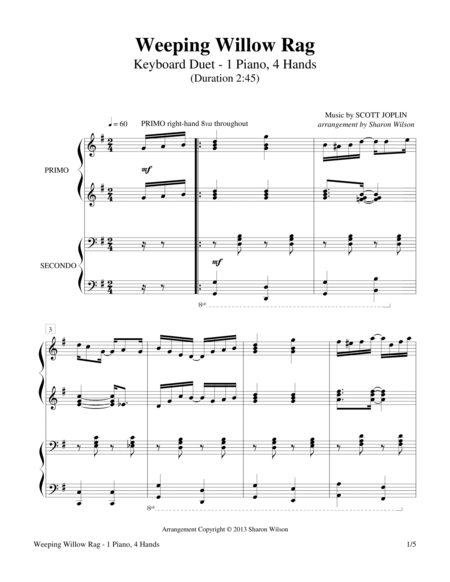 Weeping Willow Rag (1 Piano, 4-Hands)