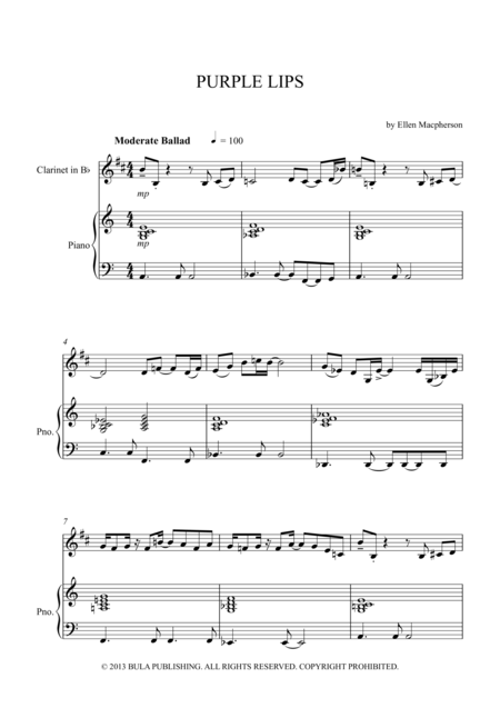 Purple Lips - Clarinet Solo with Piano Accompaniment