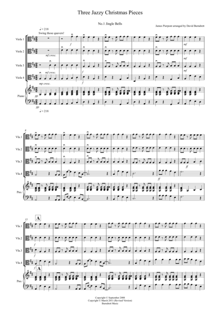3 Jazzy Christmas Pieces for Viola Quartet
