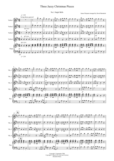 3 Jazzy Christmas Pieces for Violin Quartet