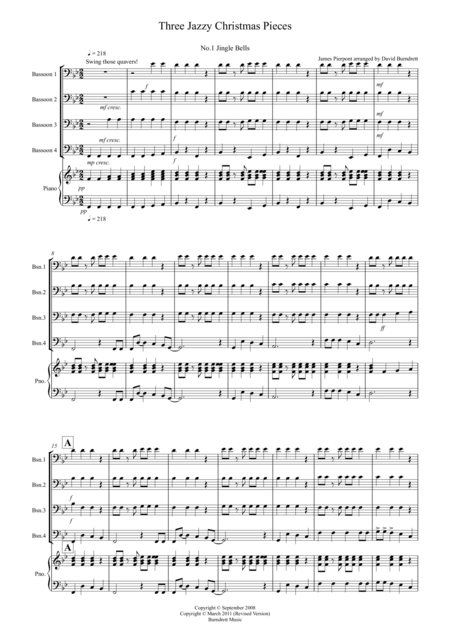 3 Jazzy Christmas Pieces for Bassoon Quartet