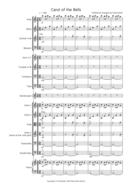 Carol of the Bells for School Orchestra