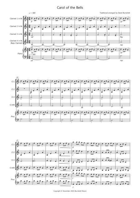 Carol of the Bells for Clarinet Quartet