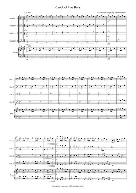 Carol of the Bells for Bassoon Quartet