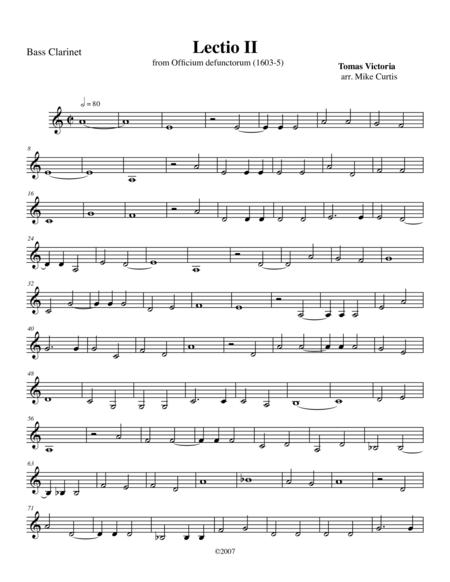 Lectio II from Officium defunctorum (1603) for Clarinet Quartet