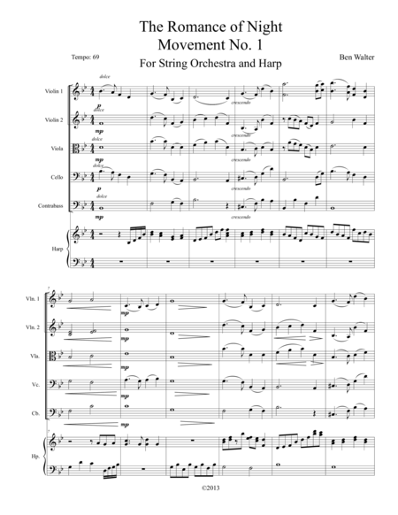 The Romance of Night for String Orchestra and Harp Movement No. 1