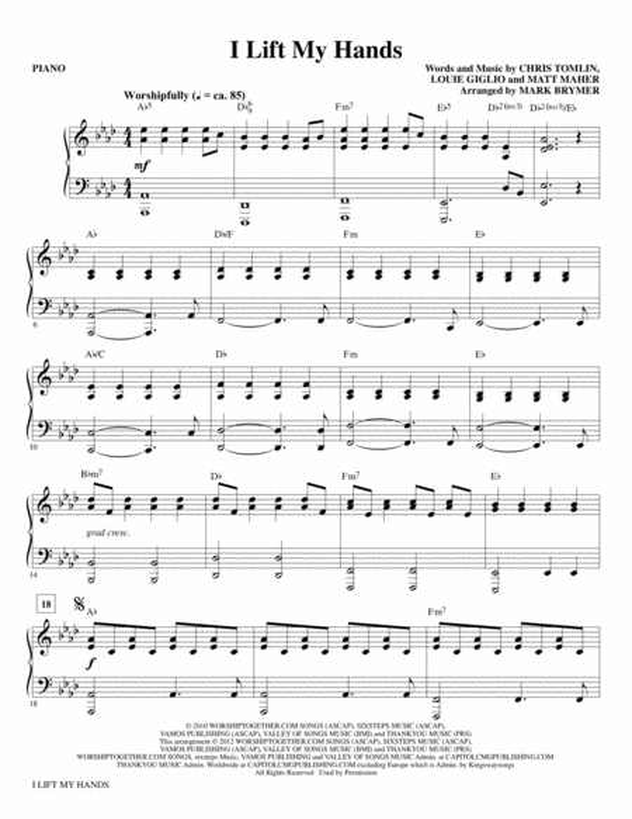 I Lift My Hands - Piano
