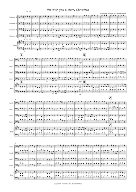 We wish you a Merry Christmas for Bassoon Quartet