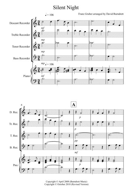 Silent Night for Recorder Quartet