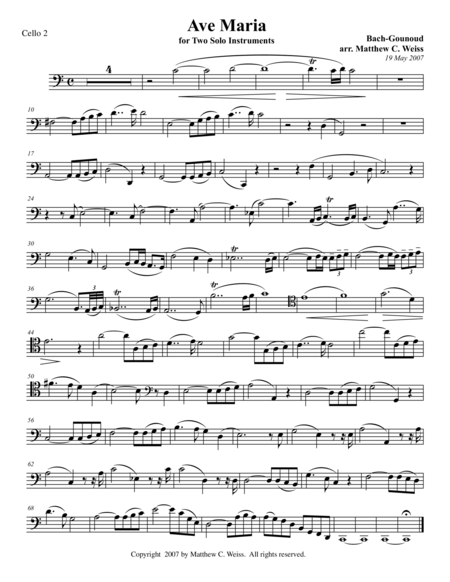 Ave Maria for Two Solo Instruments - Cello 2