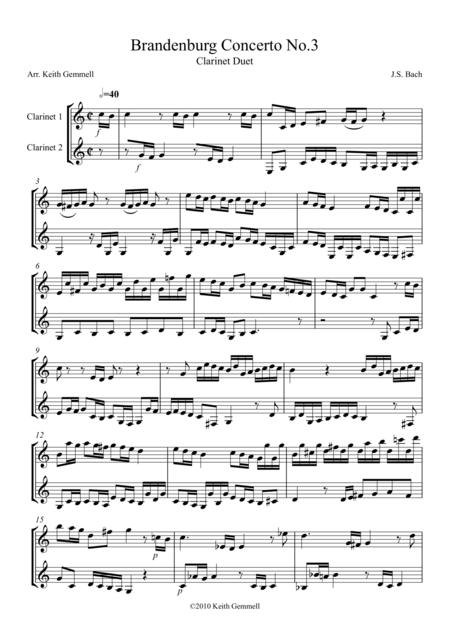 Brandenburg Concerto No. 3: Clarinet Duet
