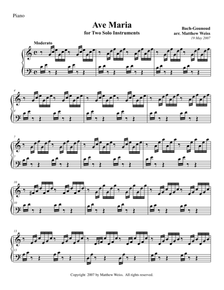 Ave Maria for Two Solo Instruments - Piano Only