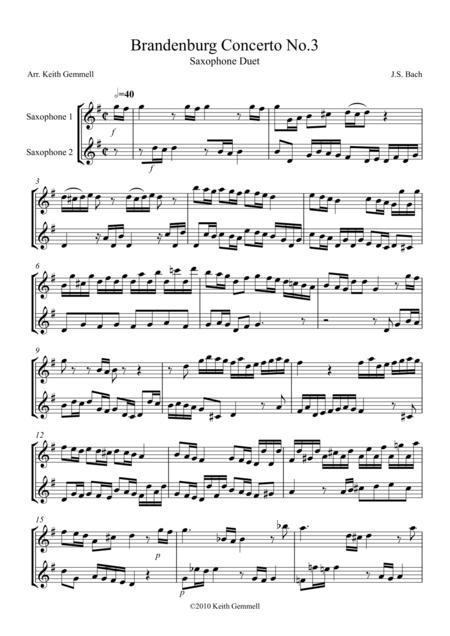 Brandenburg Concerto No. 3: Saxophone Duet