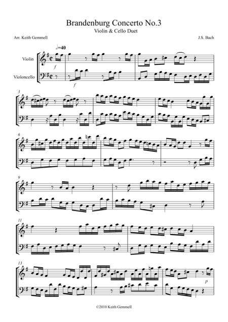 Brandenburg Concerto No. 3: Violin & Cello Duet