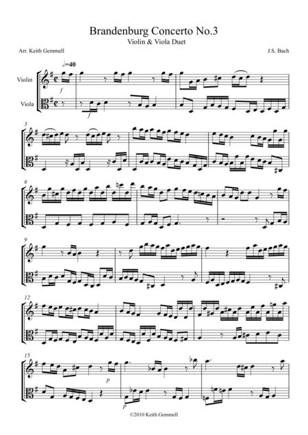 Brandenburg Concerto No. 3: Violin & Viola Duet