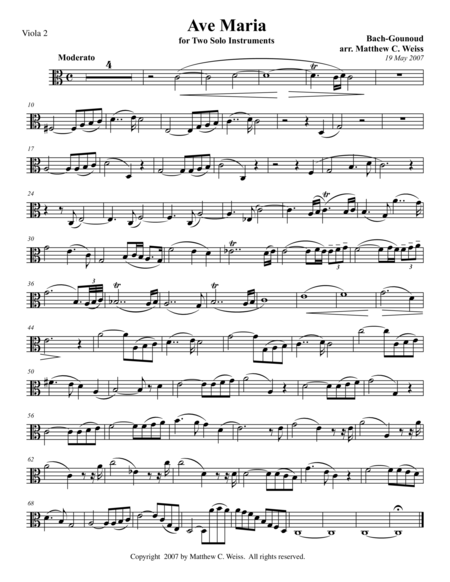 Ave Maria for Two Solo Instruments - Viola 2