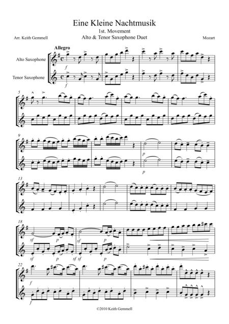 Download Eine Kleine Nachtmusik: Alto & Tenor Saxophone Duet Sheet ...