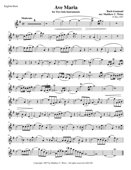 Ave Maria for Two Solo Instruments - English Horn