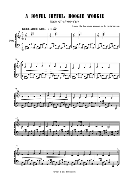 A JOYFUL JOYFUL, BOOGIE WOOGIE - EASY PIANO