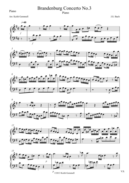 Brandenburg Concerto No. 3: Piano