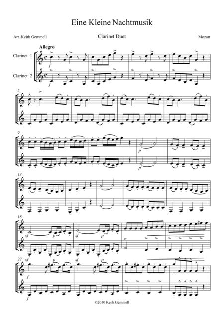 Eine Kleine Nachtmusik: Clarinet Duet