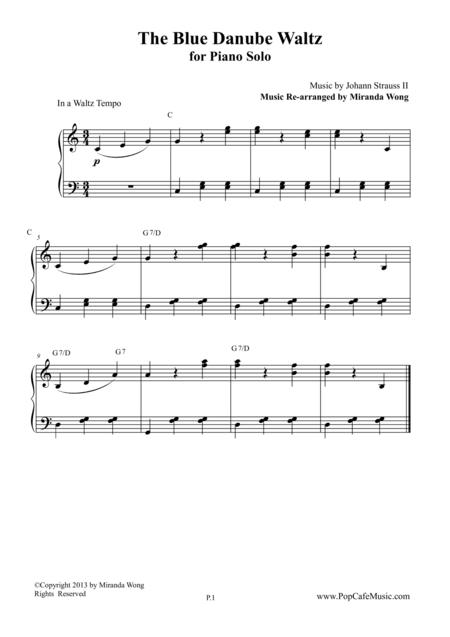 The Blue Danube Waltz in C Key - Piano Solo