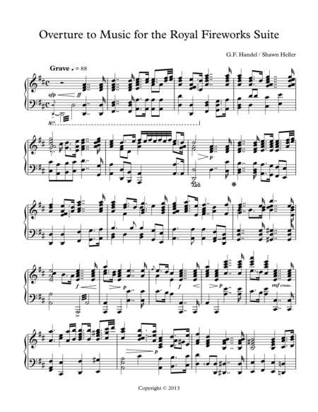Overture to Music for the Royal Fireworks Suite, HWV 351, Piano Solo arr. by Shawn Heller