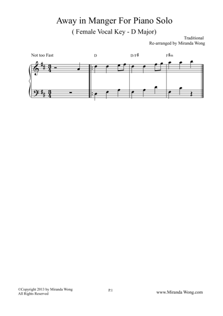 Away in Manger - Piano Solo in D Key (Female Vocal Key)