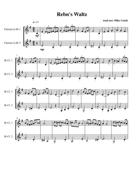 Rebn's Waltz (Rabbi's Waltz) for 2 clarinets