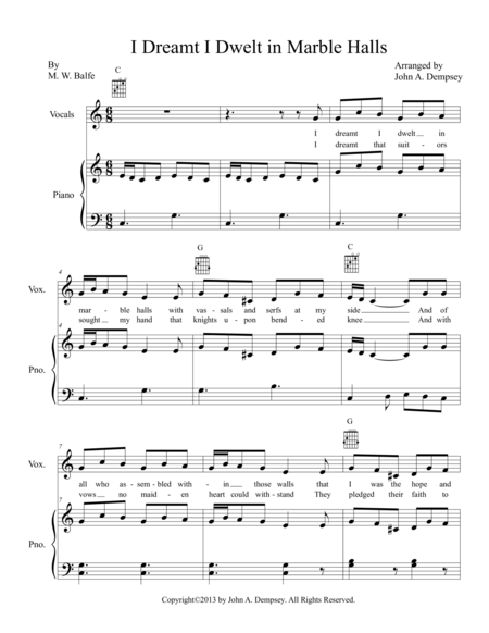 I Dreamt I Dwelt in Marble Halls (Easy Piano)