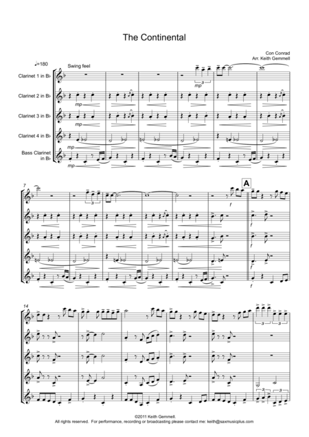 The Continental for Clarinet Quintet