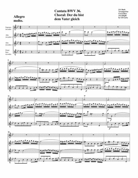 Choral: Der du bist dem Vater gleich from cantata BWV 36