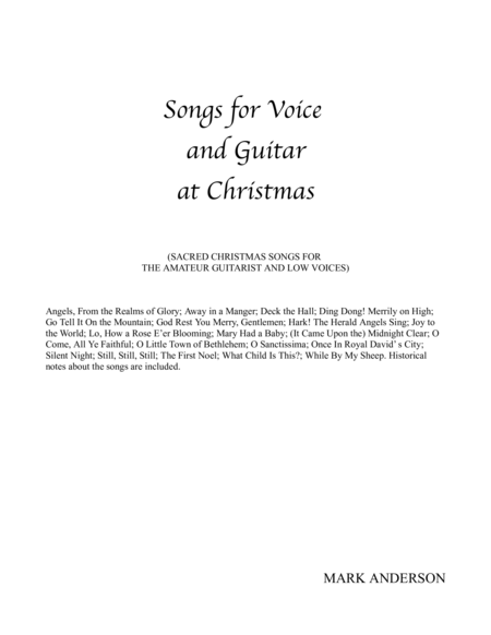 Songs For Voice and Guitar at Christmas