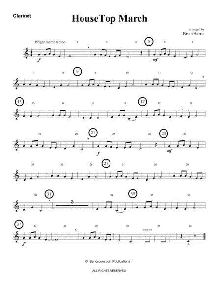 HOUSETOP MARCH (Up on the Roof Top) - beginner band - easy - score, parts & license to copy - winter concert