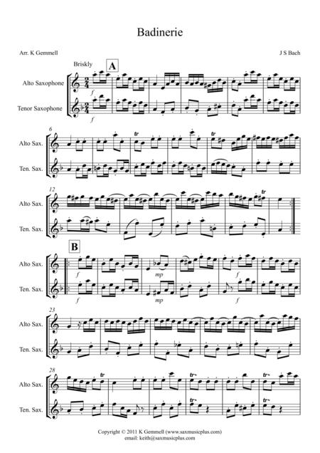 Badinerie – Duet: Alto Tenor Saxophones