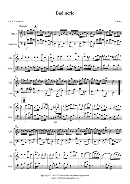 Badinerie – Oboe & Bassoon Duet
