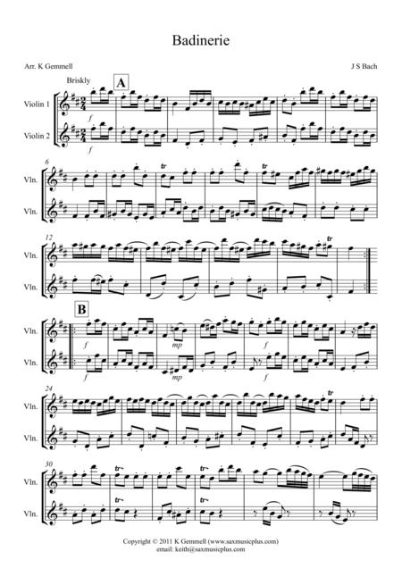 Badinerie – Violin Duet