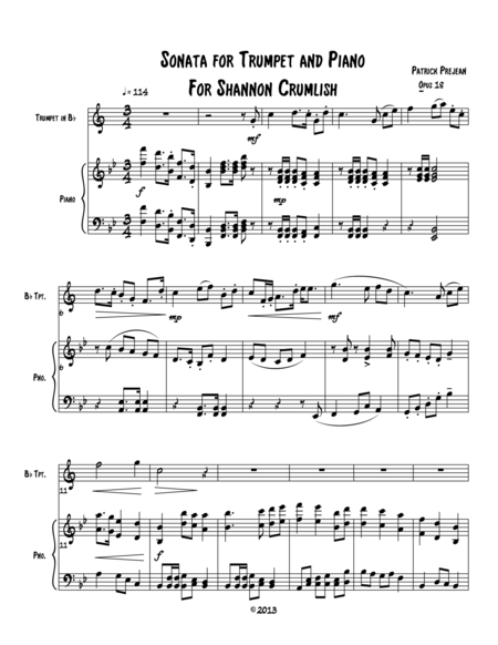 Sonata for Trumpet in B flat and Piano