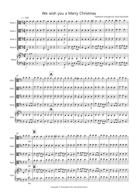 We wish you a Merry Christmas for Viola Quartet