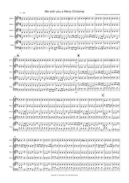 We wish you a Merry Christmas for Violin Quartet