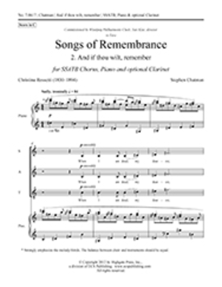 Songs of Remembrance: No. 2 And if thou wilt, remember