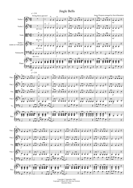 Jingle Bells (Jazzy Style!) for String Quartet