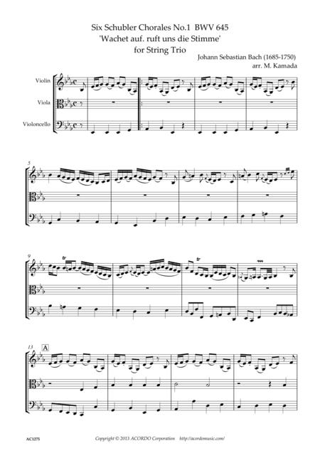 Six Schubler Chorales No.1 BWV645 'Wachet auf. ruft uns die Stimme' for String Trio